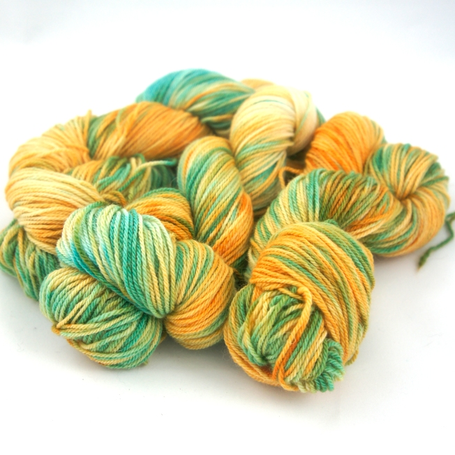 "SALE: Hand Dyed 80/20% Wool & Angora Fingering Weight Yarn, ""Freaking Sunshine in a Dang Meadow."" 219 yards"