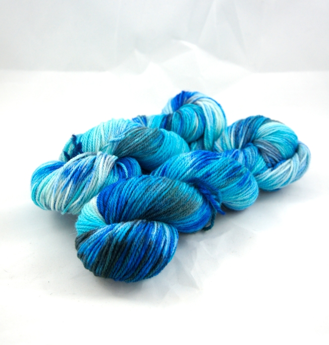"Hand Dyed 80/20% Wool & Angora Fingering Weight Yarn, ""Sapphire City"" 219 yards"