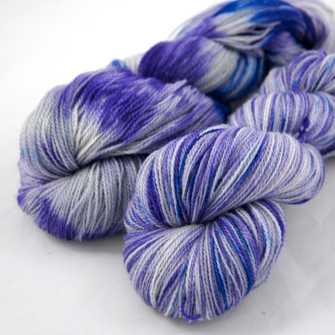 "Hand Dyed 70/30% Merino Wool & Silk Lace Weight Yarn, ""Nightingale"" 440 yards"