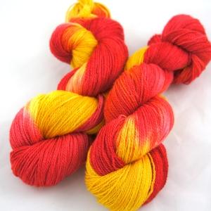 "Hand Dyed 70/30% Merino Wool & Silk Lace Weight Yarn, ""Phoenix"" 440 yards"
